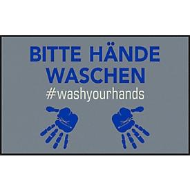 Felpudo Por favor, lavarse las manos, poliamida, Parte posterior/laterales de goma de nitrilo, lavable, L 750 x An 1200mm, gris/azul