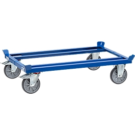 Fetra Paletten-Fahrgestell, f. Behälter 1200 x 800 mm, Traglast 750 kg, brillantblau RAL 5007