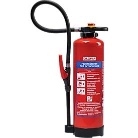 Feuerlöscher Gloria® WKL 6 PRO, DIN EN 3, Leistung 21 A, ideal für Li-Ionen Akkus bis 642 Wh, 6 l, 65 s, 4 m, Schlagknopf, Löschlanze & Löschpistole