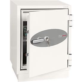 Feuerschutzschrank FS 0441, Schlüsselschloss, B 500 x T 500 x H 640 mm, Stahl, signalweiß RAL 9003
