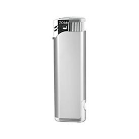 Feuerzeug, Piezo LED, nachfüllbar, Silberfarben, Standard, Auswahl Werbeanbringung optional