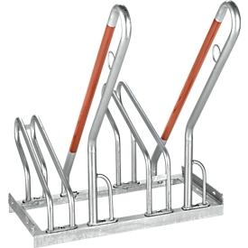 Fietsenrek, 1-zijdig, voor banden tot B 55 mm, B 700 x D 385 x H 815 mm, staal gegalvaniseerd, 2 parkeerplekken