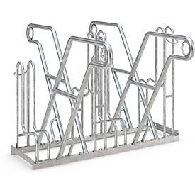 Fietsenrek WSM, 2-zijdig, voor banden tot B 55 mm, B 1080 x D 390 x H 800 mm, staal gegalvaniseerd, 4 parkeerplekken