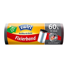 Fixeerband vuilniszakken Swirl®, 60 liter, 10 stuks, zwart