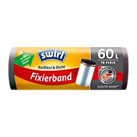 Fixierband-Müllbeutel Swirl®, 60 Liter, 10 Stück, schwarz