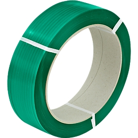 Fleje de PET poliéster 15,5 x 0,90mm x 1500m, verde-relieve, núcleo 406 mm