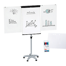 Flipchart Maul MAULstandard, höhenverstellbar, Hochformat, Papierblock + Schreibmarker farbsortiert