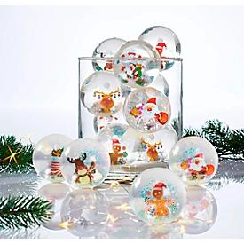 Flummi-Set, mit Licht, 12-tlg. Merry Christmas, mit Wechsellicht, Kunststoff, 65 mm Durchmesser