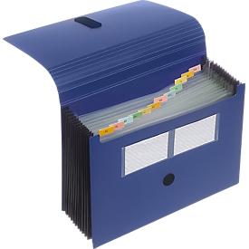 FolderSys Fächermappe, 12 Fächer, DIN A4, mit Klettverschluss, blau