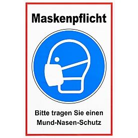 Folienaufkleber Maskenpflicht, Basicfolie ohne Laminat, Foliendruck, rechteckig, B 200 x H 300 mm
