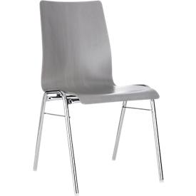 Formschalenstuhl 720, Sitzschalenform konisch, grau