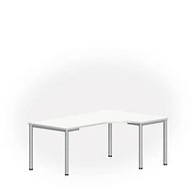 Freiformtisch NEVADA, B 1800 x T 1200/800 x H 740 mm, rund, weiß/alusilber