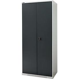 FS dubbele deurkast, plaatstaal, met ventilatieopeningen, B 810 x D 520 x H 1950 mm, 5 OH, lichtgrijs/antracietgrijs, tot 300 kg