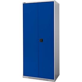 FS dubbele deurkast, plaatstaal, met ventilatieopeningen, B 810 x D 520 x H 1950 mm, 5 OH, witaluminium/ gentiaanblauw, tot 300 kg