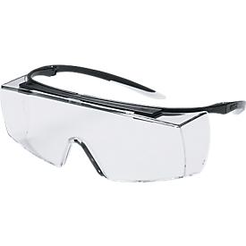 Gafas de seguridad super f OTG, EN 166, EN 170, policarbonato transparente, montura negra/blanca, 5 piezas
