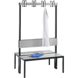 Garderobebank Basic Plus, 2-zijdig, rugleuning, zonder schoenenrek, pootstel zwartgrijs RAL 7021, B 1000 mm, decor zilvergrijs