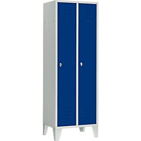 Garderobekast, 2 deuren, B 600 x H 1800 mm, incl. stelvoetjes, draaigrendelslot, lichtgrijs/enzisch blauw