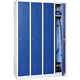 Garderobekast, 4 deuren, B 1170 x H 1800 mm, cilinderslot, lichtgrijs/enzisch blauw