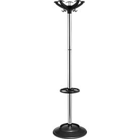 Garderobenständer Helix, 10 Haken, Schirmhalter & Tropfmulde, H 1640 x ø 400 mm, Metall, chromsilber-schwarz