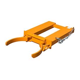 Garra para barriles BAUER FK-I, acero, capacidad de carga 500 kg, para barriles de 200l, An 1285 x P 600 x Al 165mm, naranja