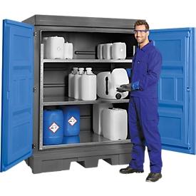 Gefahrstoffdepot, Polyethylen, unterfahrbar, m. Regal, B 1560 x T 1080 x H 1980 mm, 250 l