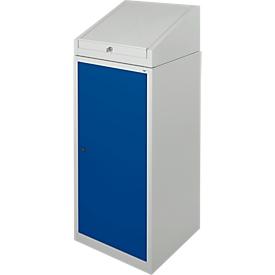 Gereedschapskast met schrijftafel, draaideur, 2 legborden, 1 lade, B 500 x D 500 x H 1200 mm, afsluitbaar, lichtgrijs/blauw