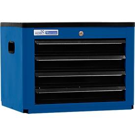 Gereedschapskist BASIC, H 450 x B 600 x D 440 mm, 4 schuifladen, blauw