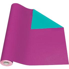Geschenkpapier paars/groen, rol L 50 m x B 500 mm, bruikbaar aan beide zijden