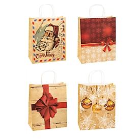 Geschenktüten Weihnachten TSI Serie 4, 4 verschiedene Motive, groß, B 260 x T 135 x H 320 mm, 100 % recycelbar, Kraftpapier, beige-rot, 12 Stück