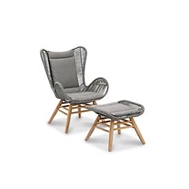 Gestoffeerde set Asmara, 1 zit-/rugkussen, B 480 x D 1050/380 x H 20 mm, 1 zitkussen-kruk, B 500 x T 380 x H 20 mm