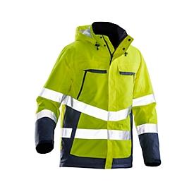 Gevoerde jas hoge zichtbarheid Jobman 1383 PRACTICAL, polyester, normen EN 343 en EN ISO 20471 klasse 3, geel/donkerblauw, S