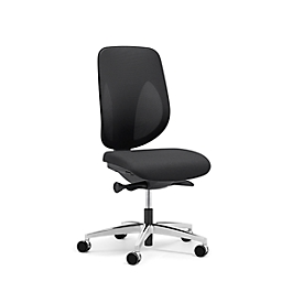 Giroflex Bürostuhl 353, ohne Armlehnen, Auto-Synchronmechanik, Muldensitz, 3D-Netz-Rückenlehne, schwarz/alusilber