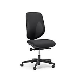 Giroflex Bürostuhl 353, ohne Armlehnen, Auto-Synchronmechanik, Muldensitz, 3D-Netz-Rückenlehne, schwarz/schwarz
