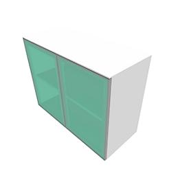 Glastürenschrank SOLUS PLAY, 2 Ordnerhöhen, grifflos, satiniert, B 800 x T 440 x H 748 mm, weiß