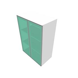 Glastürenschrank SOLUS PLAY, 3 Ordnerhöhen, grifflos, satiniert, B 800 x T 440 x H 1122 mm, weiß