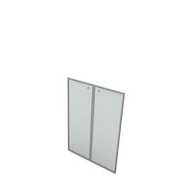 Glazen deur X-TIME WORK, 3 ordnerhoogten, gesatineerd, in aluminium frame, B 860 x D 5 x H 1280 mm