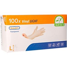 Guantes desechables Medi-Inn Light, vinilo, ligeramente empolvados, sin látex, transparentes, talla L, 100 piezas