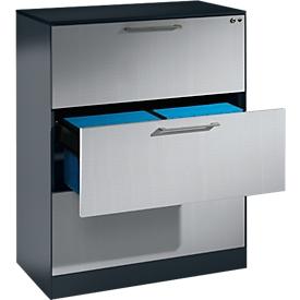 Hängeregistraturschrank ASISTO C 3000, 3 Schubladen, 2-bahnig, B 800 mm, mit Akustikblenden, anthrazit/alusilber