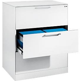 Hängeregistraturschrank ASISTO C 3000, 3 Schubladen, 2-bahnig, B 800 mm, weiß/weiß