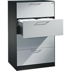 Hängeregistraturschrank ASISTO C 3000, 4 Schubladen, 2-bahnig, B 800 mm, anthrazit/alusilber