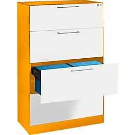 Hängeregistraturschrank ASISTO C 3000, 4 Schubladen, 2-bahnig, B 800 mm, mit Akustikblenden, orange/weiß