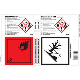Haftetiketten für Kanister mit Ottokraftstoff & Dieselkraftstoff, GHS/CLP-konform, 1 Bogen mit 4 Etiketten, weißglänzend/rot/schwarz