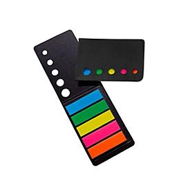 Haftnotizstreifen-Klappkarte, Schwarz, Standard, Auswahl Werbeanbringung optional