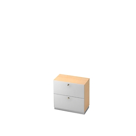 Hangmappenkast, 2 ordnerhoogten, B 800 x D 420 mm, esdoornpatroon/wit