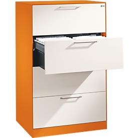 Hangmappenkast Asisto C 3000, 4 schuifladen, 2 rijen, B 800 mm, oranje/wit