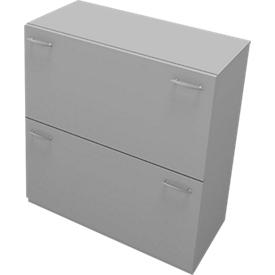 Hangmappenkast PHENOR, 2 schuifladen, B 860 x D 430 x H 860 mm, grijs