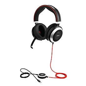 Headset Jabra Evolve 80, kabelgebunden, binaural, USB 2.0/3.0/Typ-C/3,5 mm Jack, aktive/passive Noise-Unterdrückung, Busylight