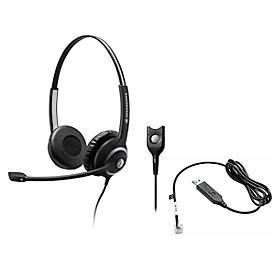Headset Sennheiser SC 260, kabelaansluiting, stereogeluid, koptelefoon verstelbaar, telefoonadapter CEHS-CI02