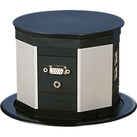 Hefcontactdoos met aardcontact, 3-polige strip, 2 x CAT6-aansluitingen, 3 m lange apparaatkabel, kunststof, zwart