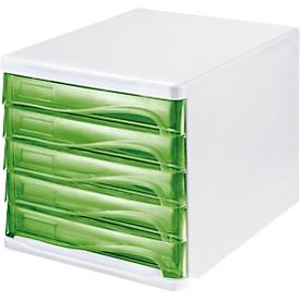 helit ladebox, 5 laden, A4, polypropeen, behuizing wit/schuiflade groen transparant
